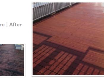 川口市青木 F保育園 施工後10年のテラスデッキを再塗装 営繕